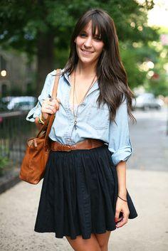 skirt + button down.