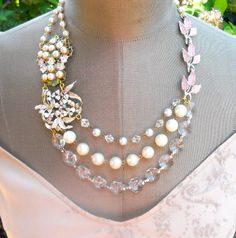 Vintage Brooch Wedding Bib Statement Necklace  by AllThingsTinsel, $139.00