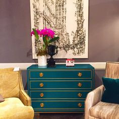 I'm seeing tons of colour this week - like this Lillian August 'Karl Dresser' in teal with brass detailing and hardware. South Main Street. #HPMKT #HPMKTSS
