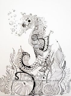 Seahorse Zentangle Design print by LilyoftheValleyArt on Etsy