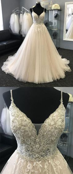 Light champagne tulle lace long prom dress, champagne evening dress