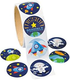 """Space Stickers (100 Pack) 1 1/2"""". Paper."""