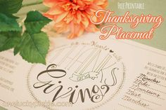 Free Printable: Thanksgiving Placemat from OneLuckyPickle