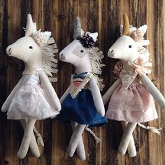 Hi guys! These 3 girls will be available at 4 pm est in the etsy shop along with some outfits for those of you who already have one!  // next week there will be 2 opportunities for you to get dolls/ loveys. (Tuesday and Friday) Details to follow! xx // #daintycheeks #handmade #etsy #clothdoll #handmadedoll #unicorn