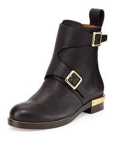 Double-Buckled Leather Ankle Boot, Black by Chloe at Neiman Marcus.