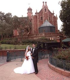 Wedding in front of the haunted mansion