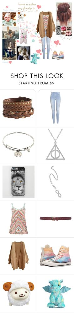 """""""Home is where my family is ~Ema's version~"""" by alexishambleton ❤ liked on Polyvore featuring Pieces, H&M, Chrysalis, NOVICA, M&Co, Converse, INC International Concepts and Aurora World"""