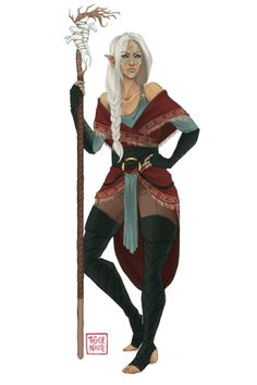 f High Elf Druid Staff female wizard sorcerer Fantasy Character Design, Character Creation, Character Design Inspiration, Character Concept, Character Art, Character Ideas, Dungeons And Dragons Characters, Dnd Characters, Fantasy Characters