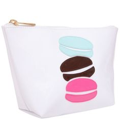 """White """"Medium Avery"""" Cosmetic Bag with Multicolor Macaroons Cosmetic Case, Beauty Essentials, Macaroons, Travel Bag, Purses And Bags, Coin Purse, Cosmetics, Wallet, Zip"""