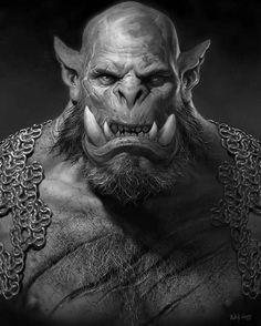 concept art ufficiale Orgrim Doomhammer per il film di Warcraft.  Artista: Wei Wang