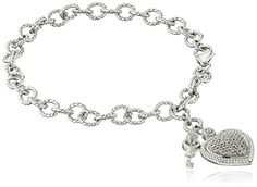 Sterling Silver Diamond Heart Bracelet 75 Inch 15 cttw -- Click on the image for additional details.