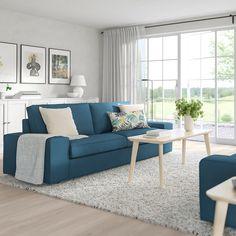 Cuddle up in the soft comfort of KIVIK sofa. Canapé Ikea Kivik, Sofa Kivik, New Living Room, Living Room Sofa, Living Spaces, Light Blue Sofa, Relax, Sofa Frame, Cushions On Sofa