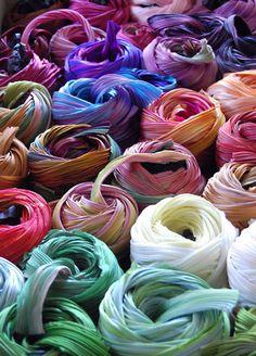 Silk shibori ribbon - endless possibilities ! LKnits.com