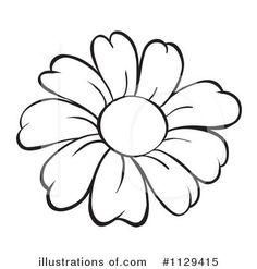 Flower Outline Clip Art Royalty Free RF Flower Clipart Illustration by colematt Stock Flower line drawings Easy flower drawings Flower printable