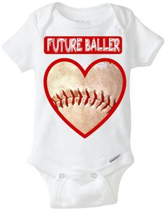 "Funny Baby Gift: Embellished Gerber Onesie brand body suit - ""Future Baller"" Baseball Heart Valentines Day Baby Shirt! Sports Baby!"