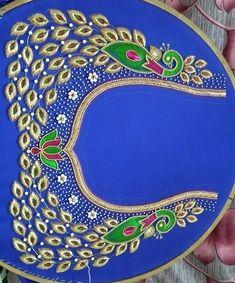 Peacock Blouse Designs, Kids Blouse Designs, Hand Work Blouse Design, Simple Blouse Designs, Blouse Designs Silk, Dress Neck Designs, Bridal Blouse Designs, Peacock Design, Blouse Patterns
