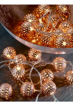 Made from lightweight metal with a copper colour finish, these lattice-cut large round warm white lamps create a soft evening glow when lit. Display them along a window sill, around a door frame or even around your Christmas tree. Copper Bedroom, Gold Bedroom, Bedroom Decor, My New Room, My Room, Luminaria Diy, Deco Rose, Copper Decor, Copper Lighting