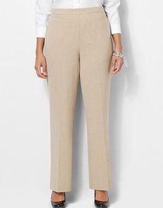CATHERINES REFINED FIT PANTS - WHEAT - PLUS SIZE 5X WOMEN'S PETITE (34/36WP) #Catherines #CasualPants