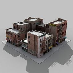 3d fbx buildings city block architectural 3d Building Models, Base Building, Building Concept, Model Building Kits, Building Ideas, 3d Modellierung, Planet Coaster, City Layout, Minecraft City