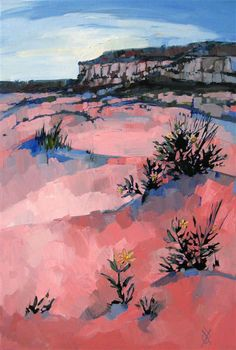 Coral Pink Scrub, original oil painting by Erin Hanson