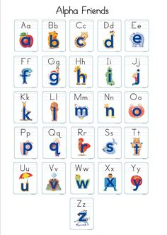 """free Alphafriends sheet print out. I laminate them after gluing it to construction paper. I give each child a copy and they hold it and point to each letter as we sing the chant. """" Andy Apple /a/ /a/ /a/, Benny Bear /b/ /b/ /b/ ... """""""