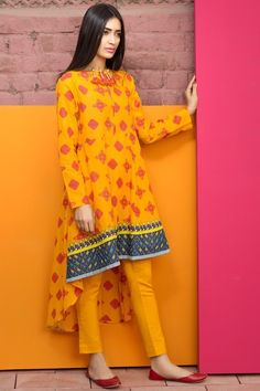 Khaadi 2 Piece Stitched Printed Lawn Suit - J17203-B - Yellow - libasco.com #khaadi #khaadionline #khadiclothes #khaadi2017 #kaadisummer
