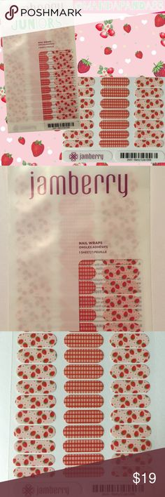 """Jamberry Jr 'Berry Cute' Strawberry Nail Wraps NWT and so cute and fun! It kinda has a picnic theme. Cute strawberry wraps paired with red/white """"plaid"""" wraps. Great for any occasion! Lasts 2-4 weeks! Jamberry Accessories"""
