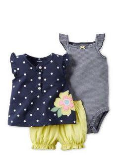 Carters  3-Piece Stripe Bodysuit Flower Dot Top and Bubble Short Set