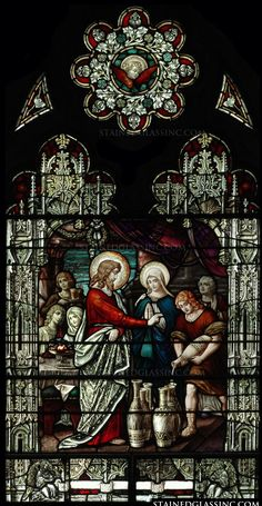 """""""Jesus Turning Water to Wine"""" Religious Stained Glass Window"""