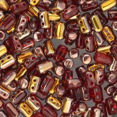 BeadFX - Huge suppy of beads s44316 Czech Shaped Beads -  Rullas - Ruby Capri Gold