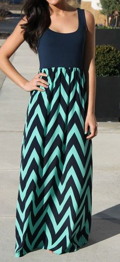 Navy & Mint Chevron Maxi Dress-LOVE LOVE LOVE!!