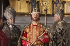 """The crowning of Stephen of Blois as King Stephen of England in 1135, as portrayed in the TV series, """"The Pillars of the Earth."""""""