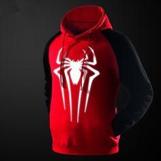 mens glow in the dark  spiderman hoodie superhero pullover hoodies