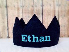Personalized Felt Birthday Crown for photo prop, dress up, pretend play, princess, birthday, boy, girl, Smash Cake, Name, aqua, navy $13