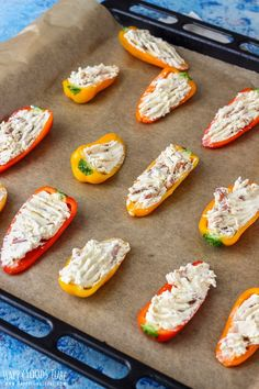 These Sweet Pepper Poppers are the perfect appetizers for parties and family gatherings. Ready in 30 minutes this oven baked party food is easy to make and tastes amazing! Cheese Appetizers, Appetizers For Party, Appetizer Recipes, Snack Recipes, Easy Potluck Recipes, Dinner Parties, Yummy Snacks, Cream Cheese Stuffed Peppers, Stuffed Mini Peppers