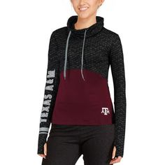 Texas A&M Aggies Colosseum Women's Scaled Cowl Neck Pullover Hoodie - Black/Maroon