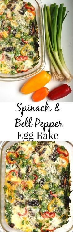 This spinach and bell pepper egg bake makes the perfect weekend breakfast or can be made ahead of time and reheated during the week. www.nutritionistreviews.com #mymorningprotein #ic #ad @Milk