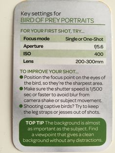 Wildlife & Nature Key settings for bird of prey portraits