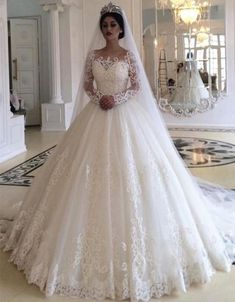 Ball Gown Wedding Dress with Long Sleeves, Fashion Custom Made Bridal Dresses, P. - Ball Gown Wedding Dress with Long Sleeves, Fashion Custom Made Bridal Dresses, Plus Size Wedding dress Source by - Princess Style Wedding Dresses, Royal Wedding Gowns, Long Wedding Dresses, Bridal Dresses, Gown Wedding, Tulle Wedding, Princess Bridal, Princess Dresses, Bridesmaid Dresses