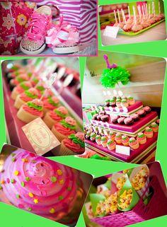 Hot pink/ green polka dot cupcake theme.