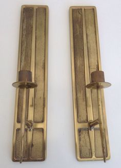 MCM EAMES ERA BRASS CANDLE SCONCES BRUTALIST JERE U002760s DANISH In Antiques