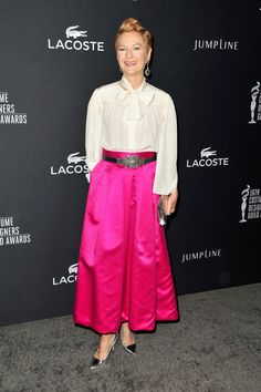 Costume designer Lou Eyrich attends the 16th Costume Designers Guild Awards with presenting sponsor Lacoste at The Beverly Hilton Hotel on F...