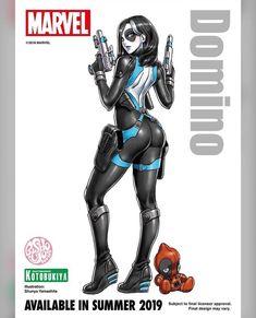 See the latest bishoujo statue releases from Kotobukiya! Marvel Women, Marvel Heroes, Captain Marvel, Domino Marvel, Deadpool, Bishoujo Statue, X Force, Games Images, Illustrations