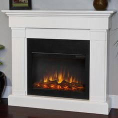Real Flame Slim Crawford Wall Mounted Electric Fireplace Finish: White