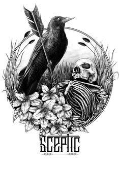 cool even better with cow skull 16 Tattoo, Raven Tattoo, Dark Tattoo, Tattoo Mafia, Dark Art Illustrations, Illustration Art, Raven And Wolf, Raven Art, Desenho Tattoo