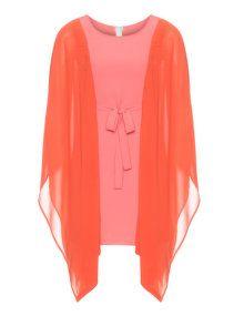 Manon Baptiste Chiffon sleeve dress in Coral-Orange / Orange