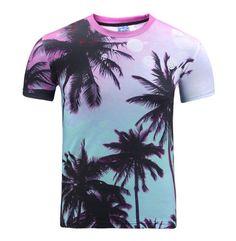 0547f94ae436 3D Print Coconut Tree Summer Short Sleeve Round Tops Beach T-Shirt Graphic  A3 Mens