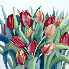 Tulips Watercolour Flower Painting in Botanical by michelewebber