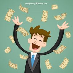 Businessman throwing bank notes Free Vector