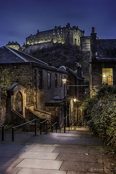 Edinburgh Castle, Scotland. The bottom of the steps comes out onto grassmarket and it's right next to a store called purple glamour.
